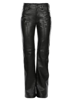 Alberta Ferretti Leather Straight-Leg Pants