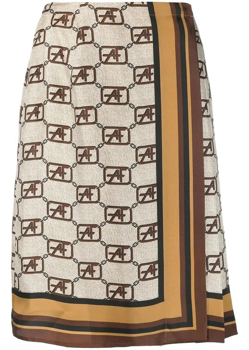 Alberta Ferretti logo print midi skirt
