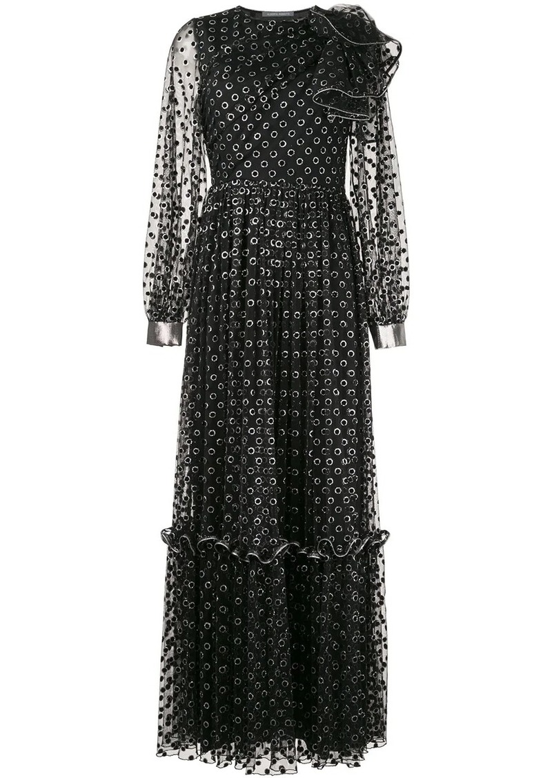 Alberta Ferretti long polka dot dress