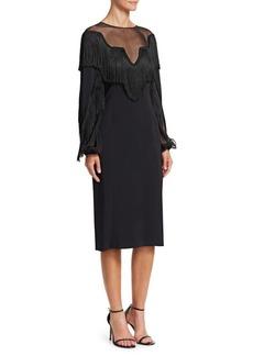 Alberta Ferretti Long Sleeve Fringe Dress