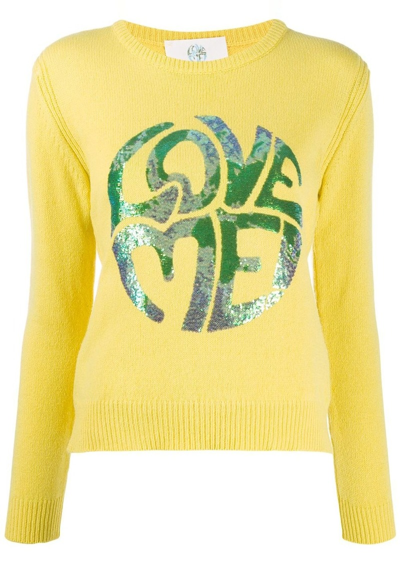 Alberta Ferretti long sleeve sequin-embellished logo pullover