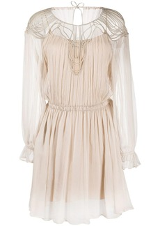 Alberta Ferretti long sleeve sheer chest panel dress