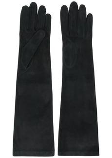 Alberta Ferretti long suede gloves