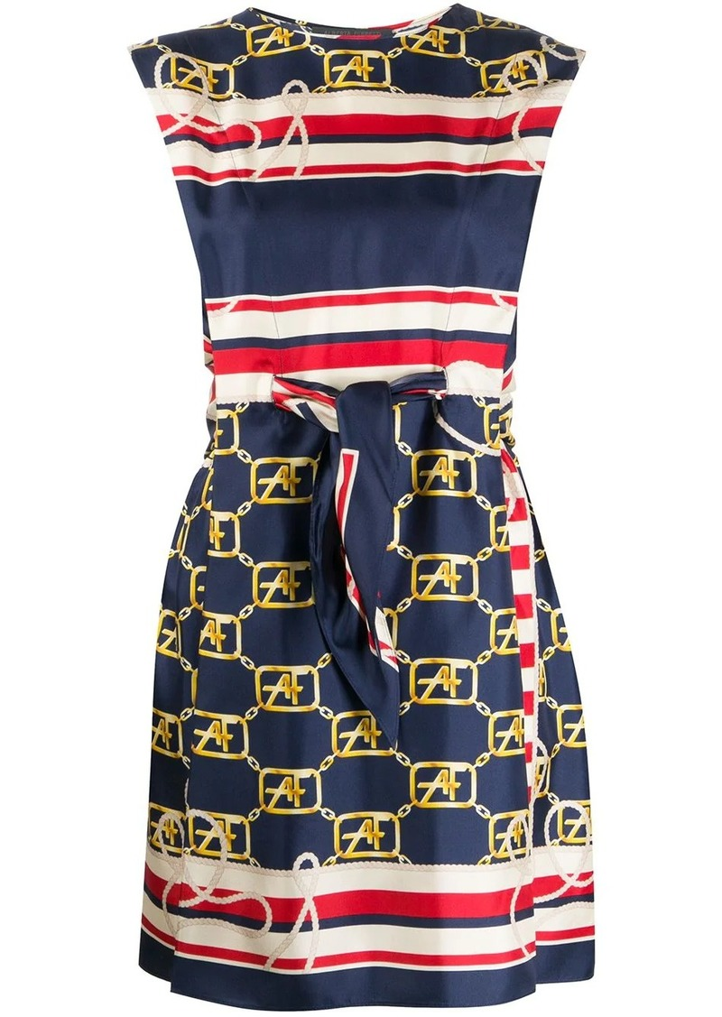 Alberta Ferretti Marine-logo silk dress
