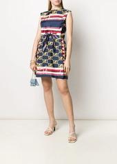 Alberta Ferretti Marine-logo silk dress