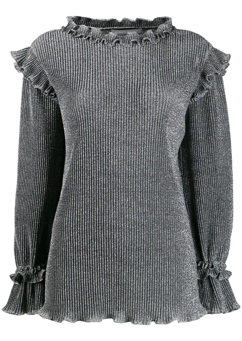 Alberta Ferretti metallic knit ruffled sweater