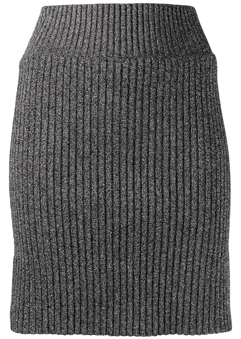 Alberta Ferretti metallic knit skirt