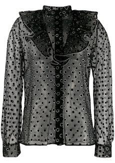 Alberta Ferretti metallic polka dot shirt