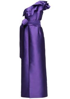 Alberta Ferretti Mikado Ruffled One Shoulder Gown