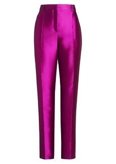 Alberta Ferretti Mikado Silk-Blend Straight-Leg Trousers