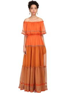 Alberta Ferretti Off-the-shoulder Silk Chiffon Long Dress