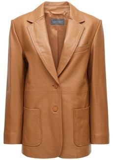 Alberta Ferretti One Breast Leather Blazer Jacket
