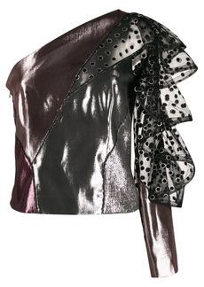 Alberta Ferretti metallic one-shoulder top