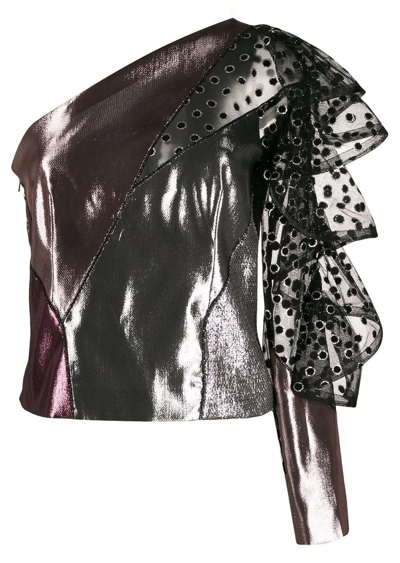 Alberta Ferretti metallic one-shoulder top