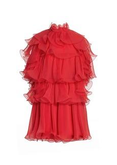 Alberta Ferretti Open Back Ruffle Tier Chiffon Cocktail Dress