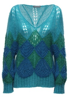 Alberta Ferretti Oversize Mohair Blend Knit Sweater