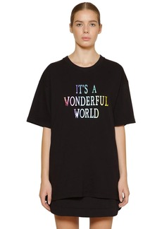 Alberta Ferretti Oversize Printed Cotton Piquet T-shirt