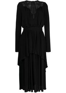 Alberta Ferretti piped mesh maxi dress