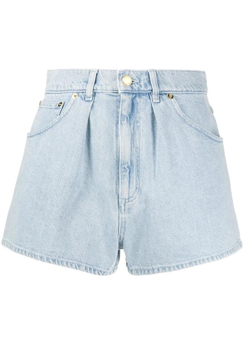 Alberta Ferretti pleated denim shorts