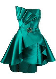 Alberta Ferretti pleated detail satin cocktail dress