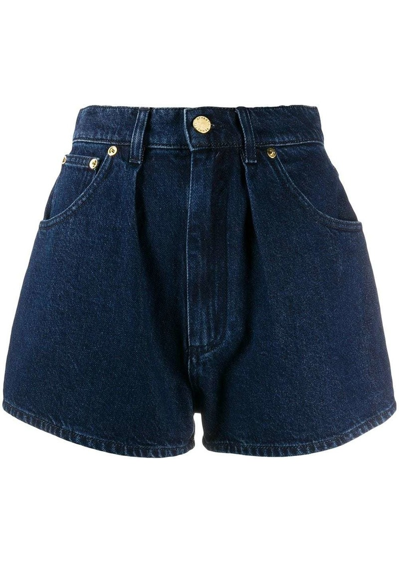 Alberta Ferretti pleated front denim shorts