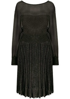 Alberta Ferretti pleated metallic knit dress