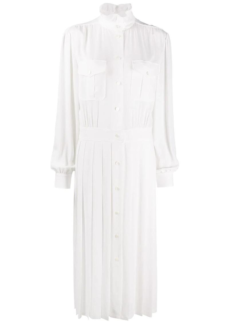 Alberta Ferretti pleated midi shirt dress