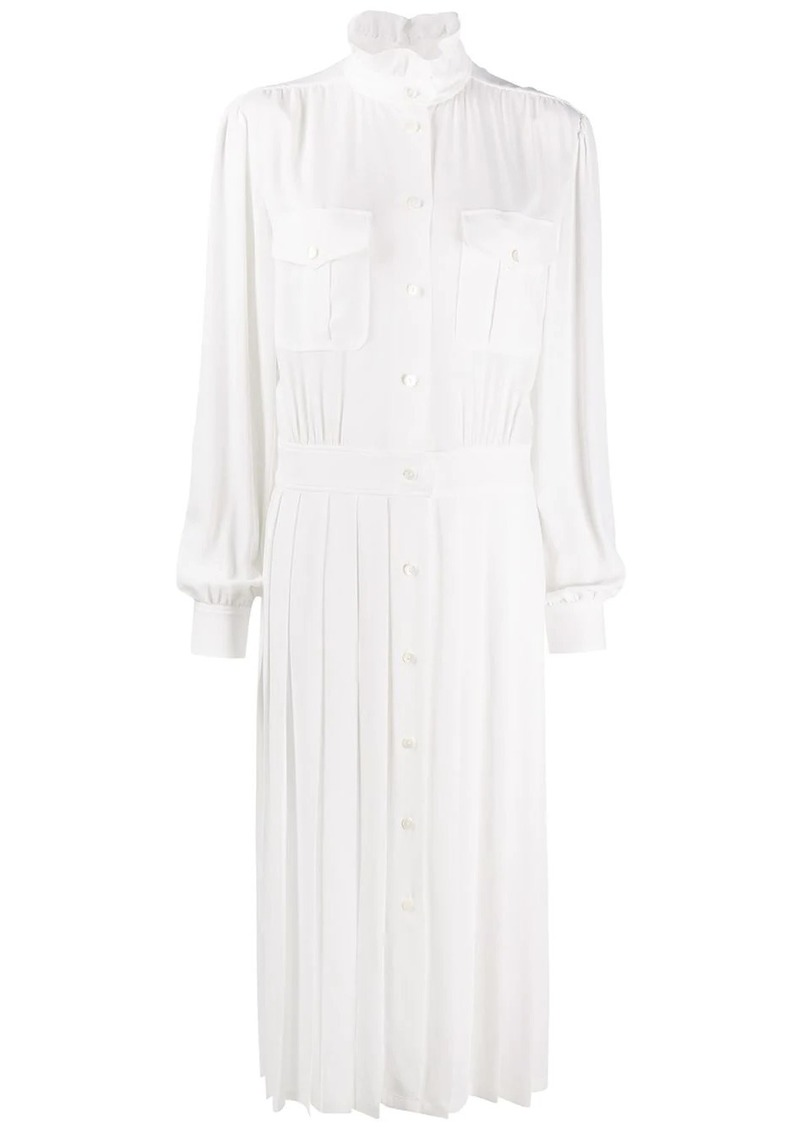 Alberta Ferretti pleated midi shirt dress
