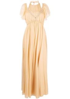 Alberta Ferretti pleated silk halterneck gown