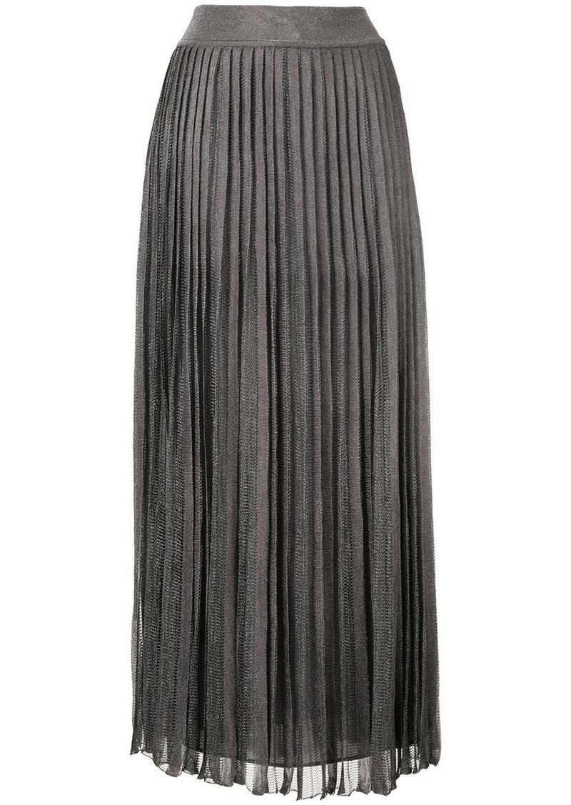 Alberta Ferretti plissé laminated knit skirt