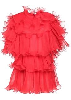 Alberta Ferretti Raw Ruffled Silk Chiffon Dress