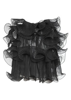 Alberta Ferretti Raw Ruffled Silk Chiffon Top