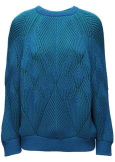 Alberta Ferretti Reversible Cable Knit Wool Sweater