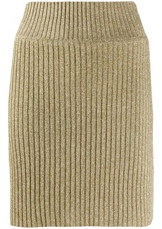 Alberta Ferretti ribbed lurex mini skirt