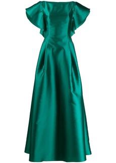 Alberta Ferretti ruffled sleeve gown