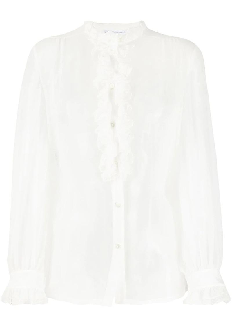 Alberta Ferretti ruffled trim blouse