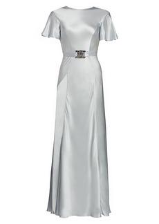 Alberta Ferretti Satin Belted Flutter-Sleeve Dress