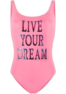 Alberta Ferretti sequin slogan swimsuit