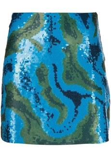 Alberta Ferretti sequinned camouflage-pattern skirt