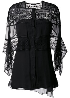 Alberta Ferretti sheer panel shawl top