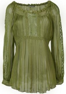 Alberta Ferretti sheer pleated blouse