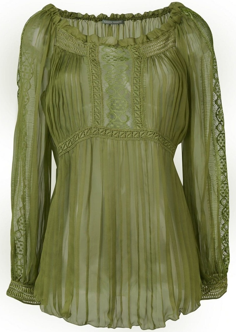 Alberta Ferretti sheer pleated blouse