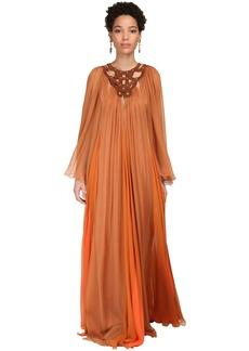Alberta Ferretti Sheer Silk Chiffon Long Dress