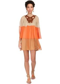 Alberta Ferretti Sheer Silk Chiffon Mini Dress