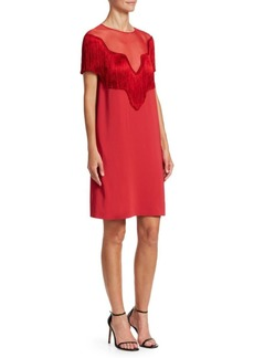 Alberta Ferretti Short Sleeve Fringe Shift Dress