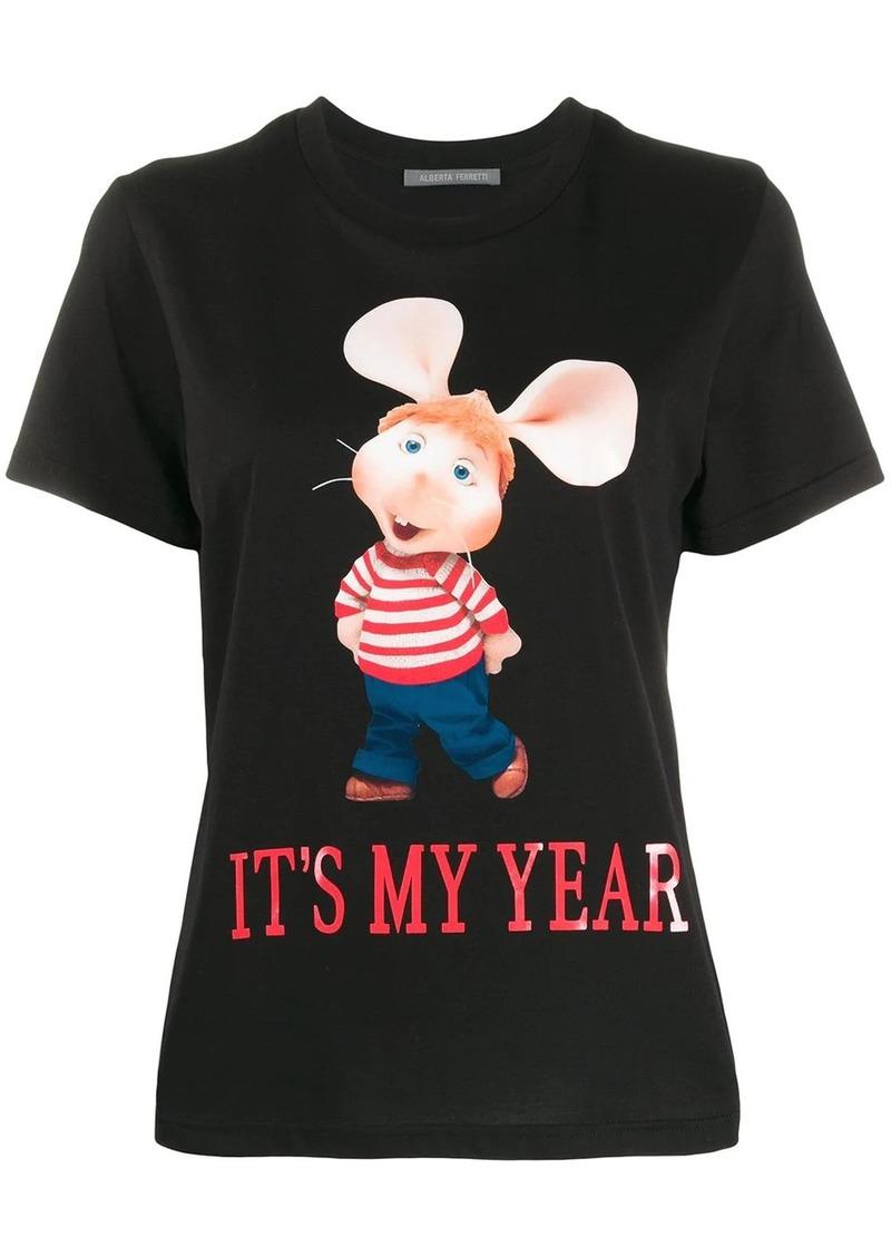 Alberta Ferretti short sleeve slogan print T-shirt