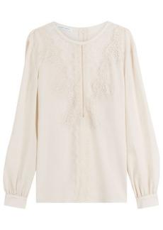 Alberta Ferretti Silk Blouse with Lace