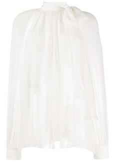 Alberta Ferretti silk pussy bow blouse