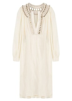 Alberta Ferretti Silk Tunic Dress with Embellished Crochet Trim