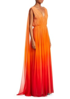 Alberta Ferretti Sleeveless Degrade Silk Gown
